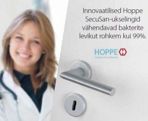 Hoppe SecuSan antibakteriaalse kattega ukselink aitab vähendada bakterite levikut. Bakterivaba kattega ukselink